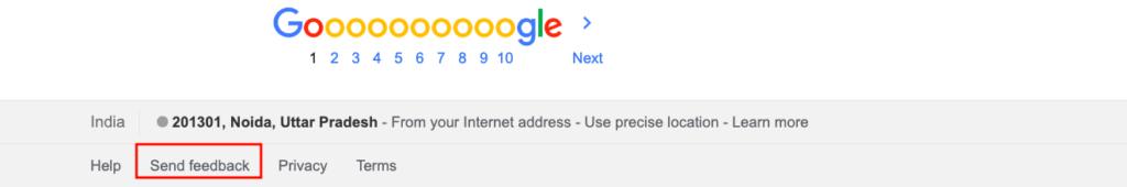 Send Feedback to Google